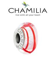 GC Genuine CHAMILIA 925 silver PEPPERMINT Murano charm bead red white Christmas