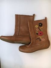 "Gianni Bini Women's ""Howdy"" Tan Leather Moccasin Boots Size 7.5 M Fall"