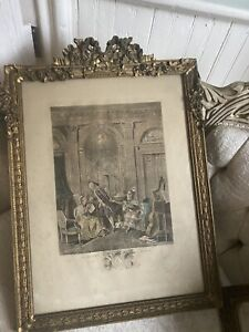 Antique French Period Barbola Gilt Frame Swags Of Roses Early Figural Engraving