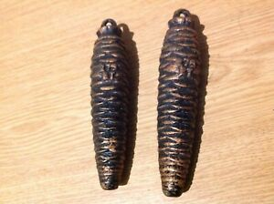 Antique Cuckoo Clock Weight Pair Pine Cone Examples 275g 120mm