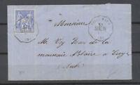 1876 env.  N°78 25c sage Obl Conv. Station VILLEMAUR SENS.TR AUBE(9) X4667