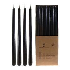 "Mega Candles - Unscented 12"" Taper Candles - Black, Set of 12 Cga079-Bk"