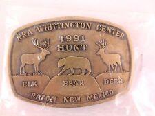 "NRA Belt Buckle Whittington Center Raton NM 1991 Hunt Elk Bear Deer 3.5"" x 2.25"""