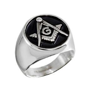 Edelstahl Quadrat & Kompass Freimaurer Symbol Ringe