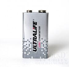 Ultralife 9v LITIO BLOCCO BATTERIA 10 anni BATTERIA per rilevatore di fumo ecc. 6lr61