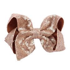 "5"" Handmade Sequin Hair Bows Hair Clips For Girls Hairgrips Kids Ribbon Knot Bow"