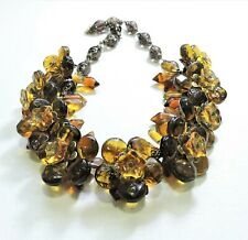 Vintage Brown & Amber Flowers Lampwork Art Glass Bead Necklace Fe20Bn80