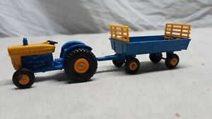 Vintage Matchbox No # 39 Ford Tractor Blue and No # 40 Trailer Never played With