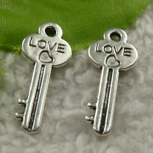 Free Ship 280 pcs tibet silver love key charms 25x10mm B4219