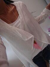 Cardigan Neu Jacke S M Cotton WESTE Blogger Shirt Trend Italy Mustahave Weiß F56