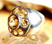 Extrem Massiv Silberring 57 Handarbeit Citrin Breit Gelb Ring Silber Kuppel