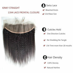 100% 12INCH BRAZILIAN LACE FRONTALS 13X4 EAR TO EAR KINKY STRAIGHT 12A FASTSHIP