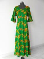 Vtg TWO POTATO 60s 70s Boho Hippy Floral Maxi Dress…Shamrock Green, Bell Sleeve