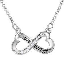 "Collar, colgante símbolo infinito grabado ""Amor perfecto"", strass blanco"