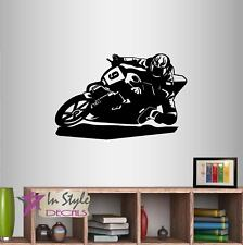 Wall Vinyl Decal Motorcycle Racer Bike Riding Biker Extreme Sports Sticker 798