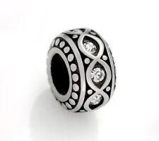 Stainless Steel Rondelle Spacer Beads w/ Rhinestones for European Charm Bracelet