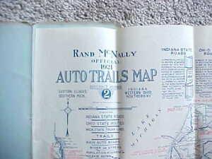 1921 RAND McNALLY AUTO TRAILS FOLDING ROAD MAP OHIO INDIANA KENTUCKY MICHIGAN VG