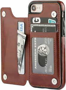 iPhone 7 Plus / 8 Plus Case Leather Card Holder Magnetic Wallet Cover for Apple