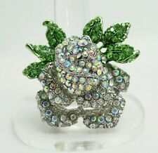 """1.75"""" White Crystal ROSE FLOWER Silver Plated Stretch Band Cocktail Ring Gift"""
