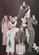 Vintage 1980s Butterick 3372 Witch Rabbit Clown Princess Cat Halloween Costumes