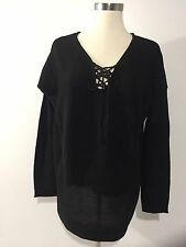 Links Stitch Laceup Womens 1X Black Tunic W/ Shirt-Tail Top Blouse Hem Plus NWTS