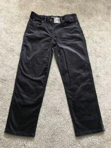 M&s Navy Mid Rise Straight Velour Capri Cord Trouser S 12 R BNWT Free Sameday