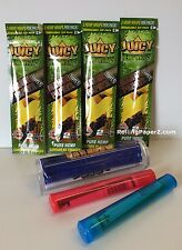 "4 PACKS JUICY Flavored HEMP WRAPS - ""MANGO PAPAYA""+ CIGAR ROLLER + STORAGE TUBES"