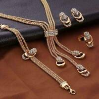 18K Gold Tassel Earrings Bracelet Jewelry Plated Crystal Ring Necklace Set UK