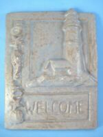 Janet Ontko Clay Forms Welcome Plaque Lighthouse and Seashells Pottery
