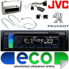 Peugeot 308 JVC DAB CD MP3 Bluetooth Auto Stereo VOLANTE KIT fascia d'argento