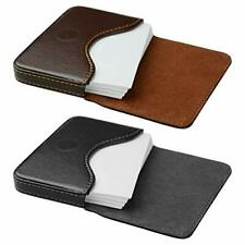 Kiniza 2 Pcs Leather Business Card Case Holder Square Flaps Pocket Cards Wall