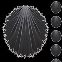 Wedding Veils Bridal Accessories White Ivory Elbow Length with Comb Appliques
