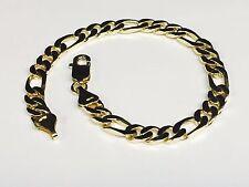 """18kt solid gold handmade Figaro Curb Link mens bracelet 10"""" 30 Grms 6.5MM"""