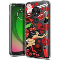 Thin Gel Phone Case for Motorola G7 Play/Power/Plus,Sticker 11 Red Print