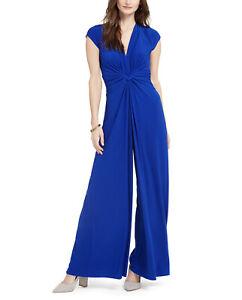 Vince Camuto Women's Jumpsuit Pleated V-Neck  Royal Blue Cobalt Size XL