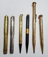 Lot of 6 Fountain Pens & Pencils, Waterman's, Wahl Eversharp, gold tn & sterling