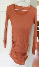 MICHAEL STARS Long Maternity Top~OS~Cotton/Nylon~Lt Orange~Ruched Sides & Sleeve