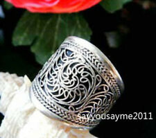 Vintage Handmade Tribal Jewelry Tibetan Silver Filigreed Luck Flower Amulet Ring