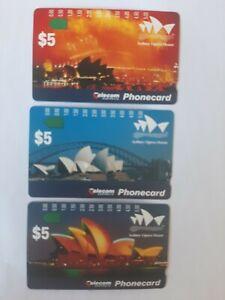 Set.  X.  3. Mint Phonecards Sydney Opera House Prefix 521-523