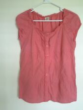 FADED GLORY PINK VINTAGE WASH  BUTTON FRONT BLOUSE SHIRT SIZE L