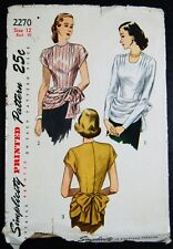 Vintage Original  Simplicity 40's Overblouse Pattern No. 2270