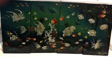 """Tropical Fish Mother Of Pearl Inlay w/ Painting Picture 11 3/4"""" X 23"""" Set of 4"""
