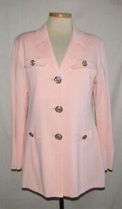 Misook Light Pink Acrylic Blend Button Front Knit Blazer Jacket Size Large