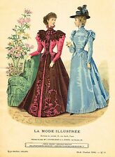 """French Fashion - """"LA MODE ILLUSTREE # 51 - BLUE & RED"""" - Hand-Col Eng. - 1896"""