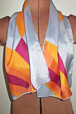 "40.5"" x 11"" Vintage 60's Blue Orange Gold Raspberry ABSTRACT PATTERN Silk SCARF"