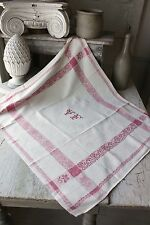 Damask Napkin French Vf monogram Vintage ( 1 of set) 30X25 old rare pink red