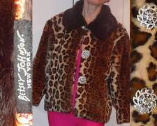 BETSEY JOHNSON LEOPARD PRINT RABBIT-LIKE CROPPED BOLERO JACKET RHINESTONES S M