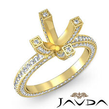 Diamond Wedding Ring 18k Yellow Gold Vintage Style Pave Round Semi Mount 1.9Ct