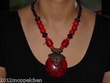 Damen Collier ( Länge 55 cm ) aus Holzperlen und rotem großen Harzstein