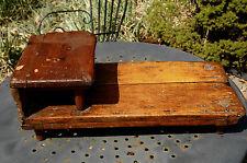 Antique Wood Primitive Cobblers Bench Stool Salesman Sample Hand Made Bench ....